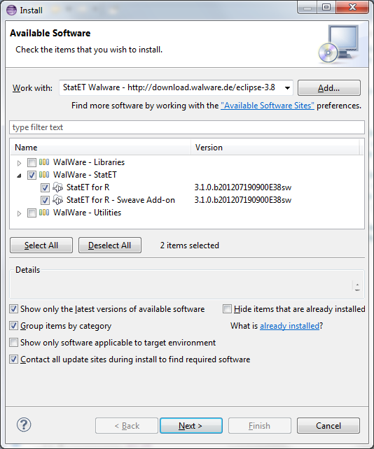 The installation dialog in Eclipse