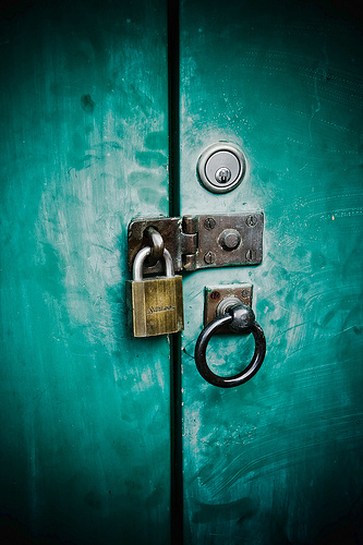 Keeping your stuff under lock and key. The image is CC by aussiegall