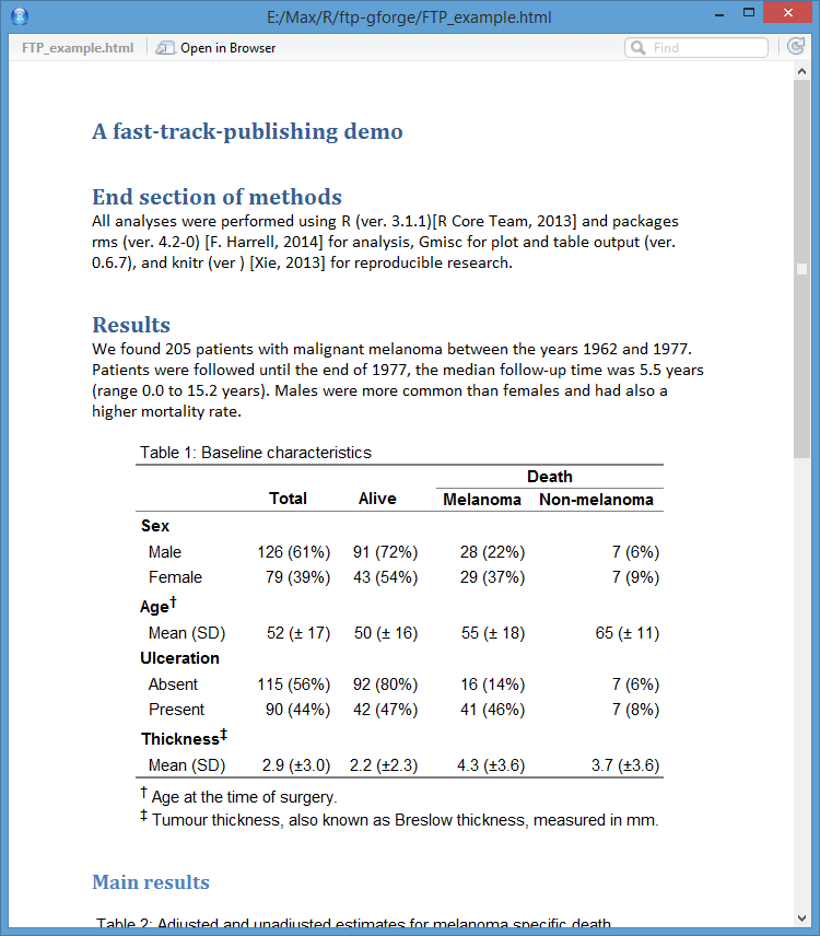 Fast track publishing using the new r markdown a for Table markdown