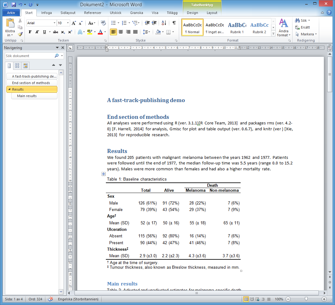 The end result in MS Word